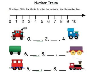 : •Writing Numbers: #s 1-50 •Ordering Numbers: Number Trains #s 1 ...