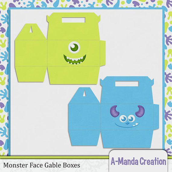Monster Face Gable Boxes! Perfect for Monsters Inc themed birthday parties and baby showers!