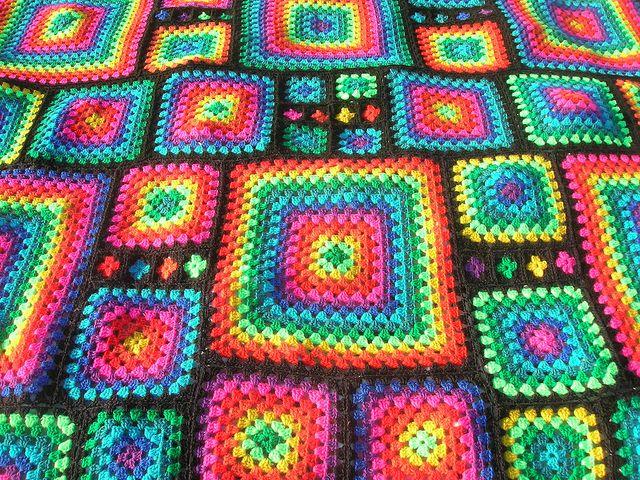 Irregular Rainbow Mosaic Crochet Afghan by babukatorium, via Flickr