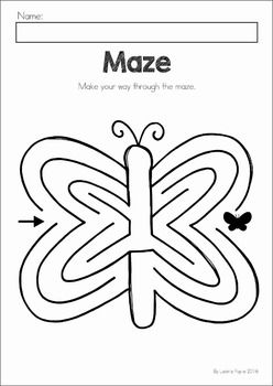 Spring Preschool No Prep Worksheets & Activities. A page from the unit: fine motor tracing butterfly maze
