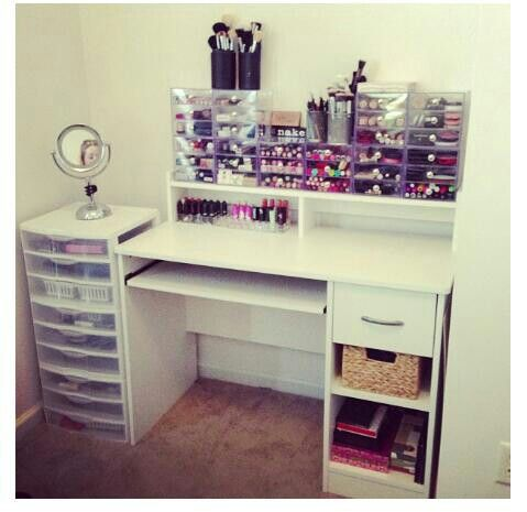 inspiration only, no tut/// computer desk converted to makeup vanity/storage