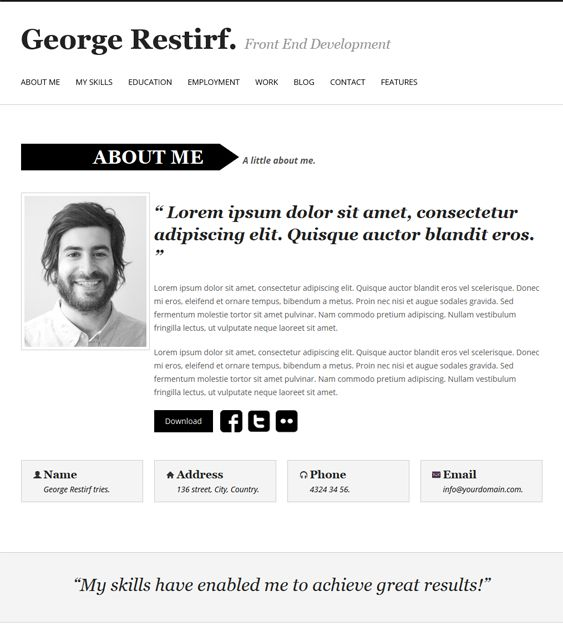 This resume WordPress theme has a one page layout, support for - resume wordpress theme
