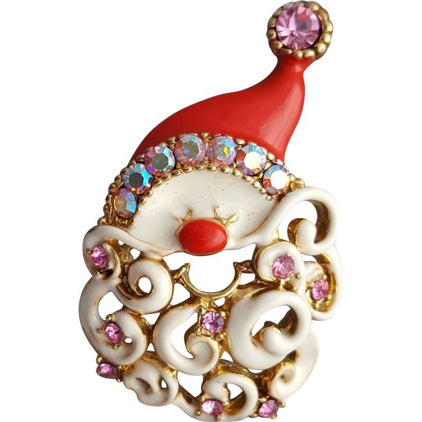 Whimsical Santa Claus Brooch with Rhinestones and Enamel for Christmas.https://www.pinterest.com/rubylanecom/vintage-jewelry-25-or-less/