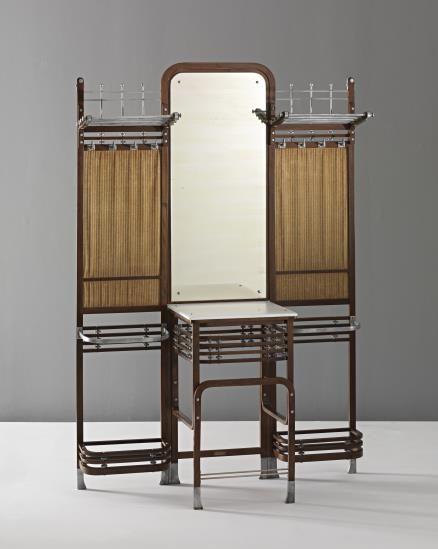 "Marcel Kammerer     Hall stand , ca. 1904 Beechwood, aluminum, glass, mirrored glass, fabric.  Executed by Gebrüder Thonet, Austria. One stretcher with metal label with ""GEBRÜDER THONET/WIEN, STEFANSPLATZ."""
