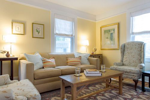 THE BEST INTERIOR YELLOWS:  Benjamin Moore 'Montgomery White' - The Garden Web via My Old Country House