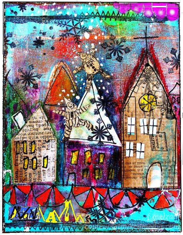couleurs et mixed media: Tutoriel pour carte pour Noël