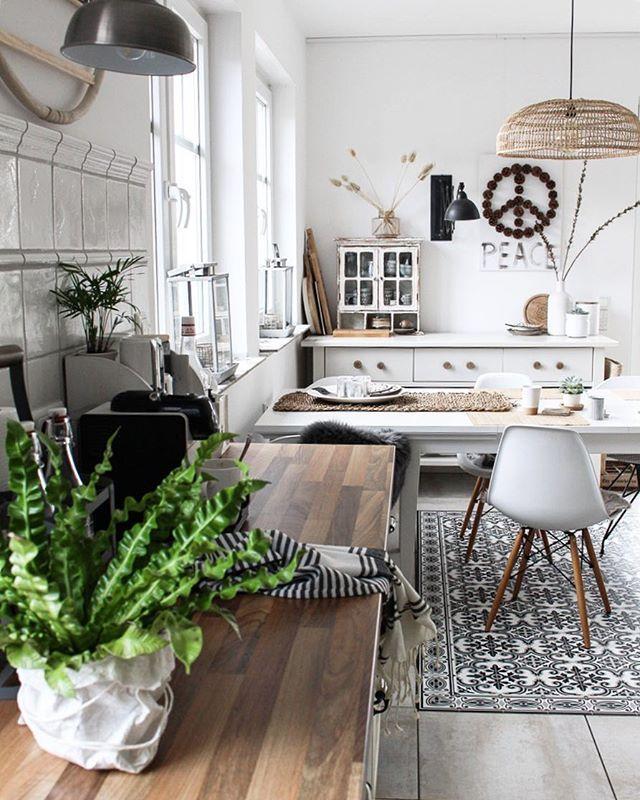 Kücheninspiration Küche einrichten Küche Schwarz Weiß Holz
