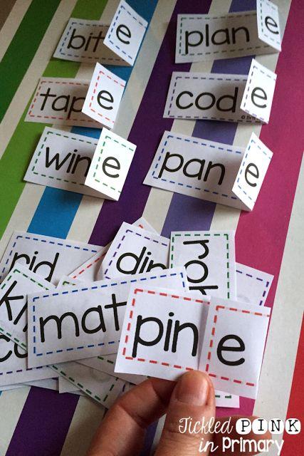 Silent e flip strips helps students turn CVC words into CVCe words