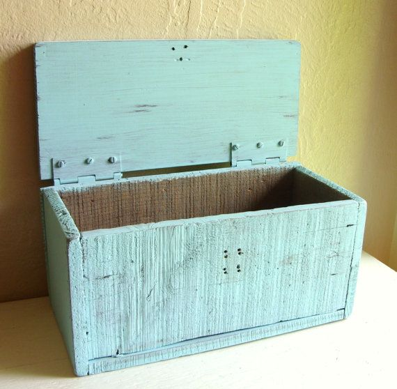Distressed Turquoise Wood Box