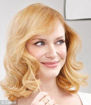 New do: The 39-year-old actress showed off her new, longer strawberry blonde locks, after dyeing them blonde, left, for a recent Clairol advert