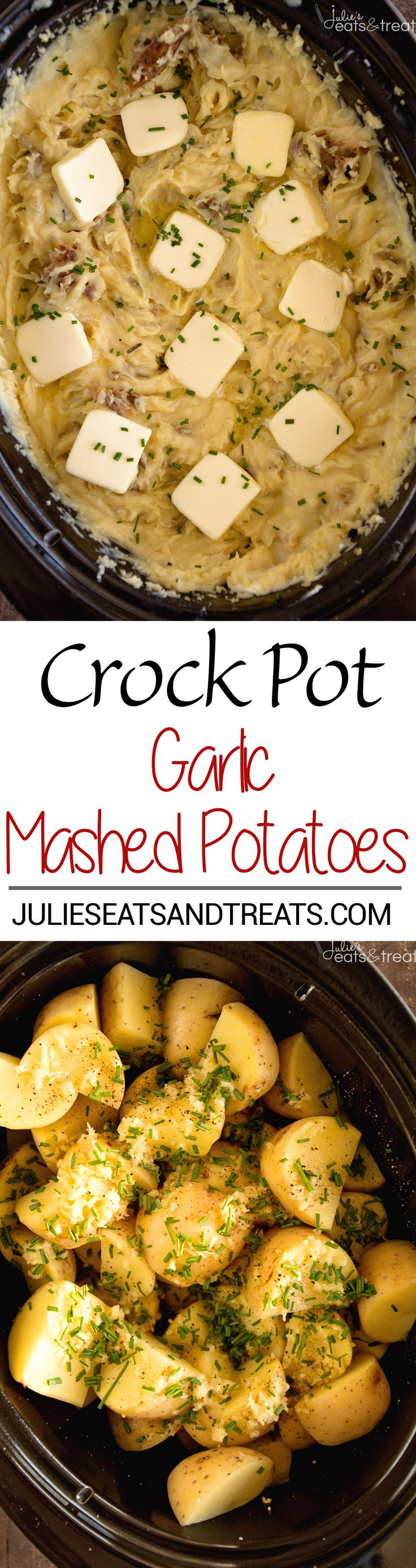 Crock Pot Garlic Mashed Potatoes Recipe ~ Slow Cooked Creamy Mashed Potatoes Loaded with Garlic, Cream Cheese and Parmesan!