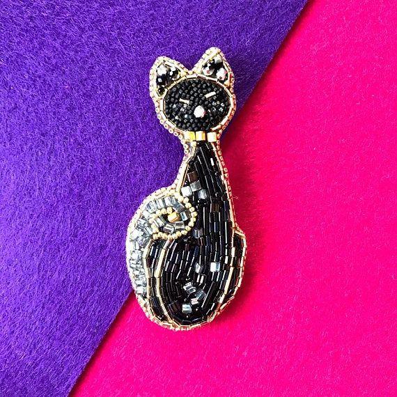 Kitty broochCat BroochBeaded Cat pinBeaded JewelleryKitten