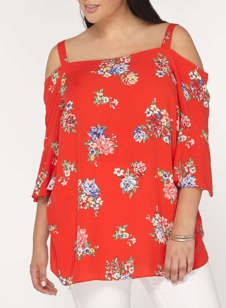 Womens DP Curve Plus Size Red Floral Bardot Top- Red