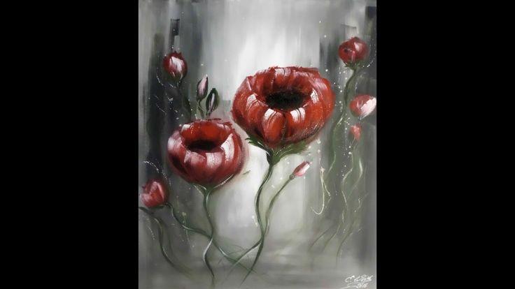 Einfach Malen-Blumen -Acrylmalerei, Flower Acrylic Painting