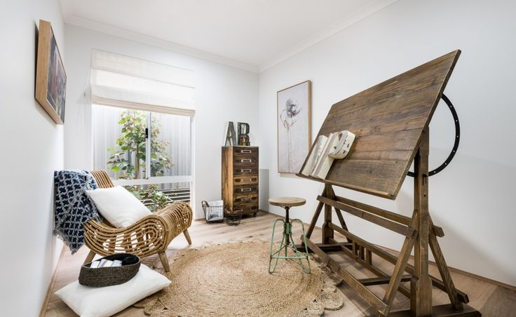 The study is located off the front entrance hall, making it perfect for a home office