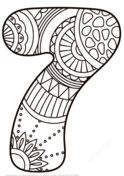 Number 7 Zentangle Coloring page