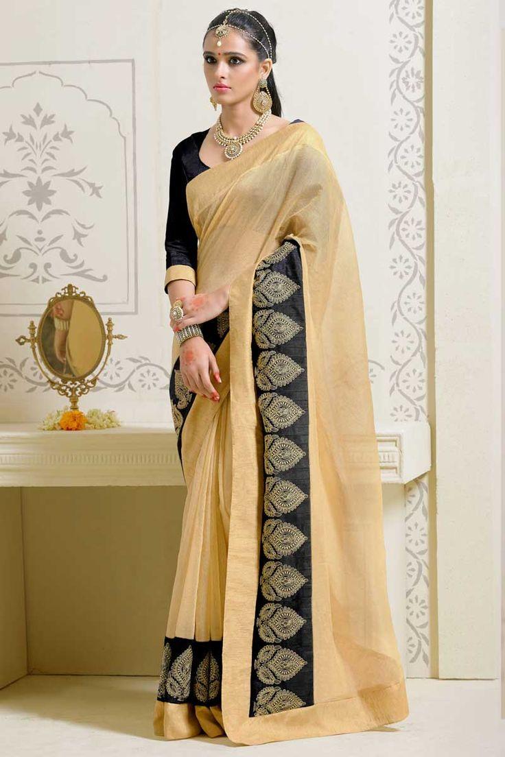 #AndaazFashion Présente l'art crème sari de soie avec chemisier  http://www.andaazfashion.fr/womens/sarees/cream-art-silk-saree-with-blouse-dmv8551.html