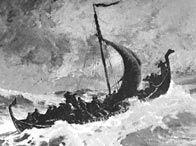 Artist's conception of Norse explorer Leif Erikson's ship