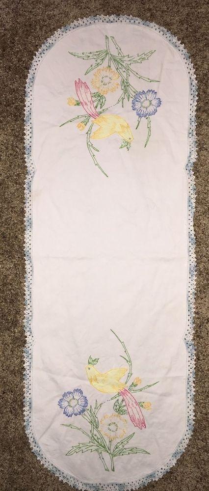 Vintage Table Runner Embroided Applique Parrots Birds Flowers Crochet Edge 15x40