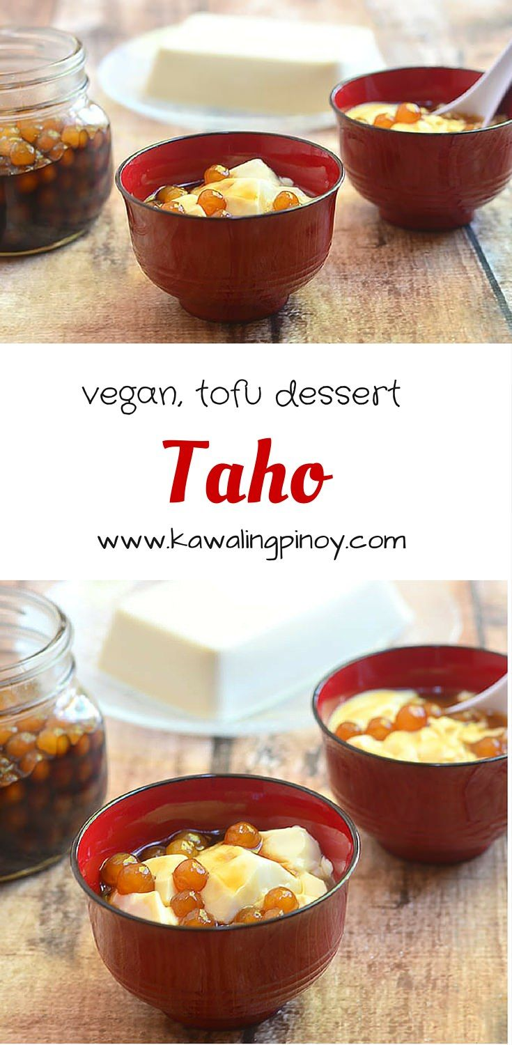 Taho is a Filipino delicacy made of silken tofu, sago pearls and sweet sugar syrup; vegan, soy dessert