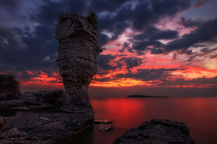 Sunrise on Flowerpot Island in Georgian Bay about 6.5km's off the coast from Tobermory Ontario Canada,  definitely worth the effort.
