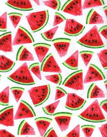 Watermelon Fabric on White Slices Seeds Picnic Party. $10.00, via Etsy.