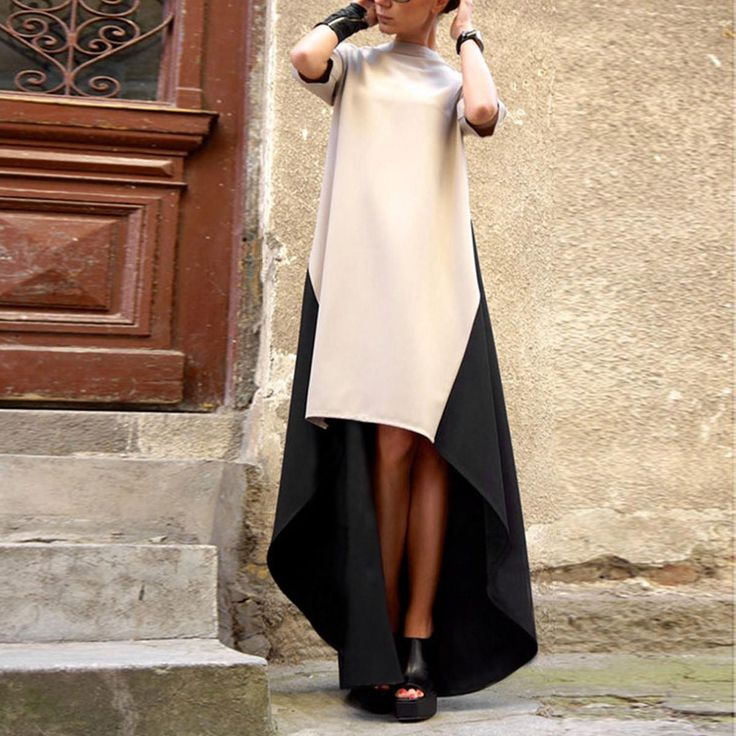 2016 европейский стиль весна дамы мода высокий воротник нерегулярные хем лоскутная платье женщины длиной макси платья Vestidos Большой размер купить на AliExpress