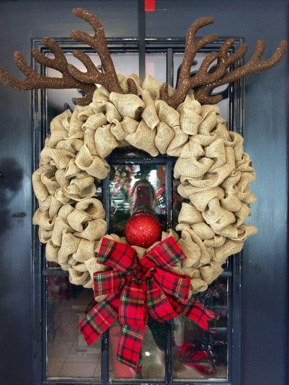 Guirnalda de Rudolph la arpillera Reno corona por WreathsbyLaura