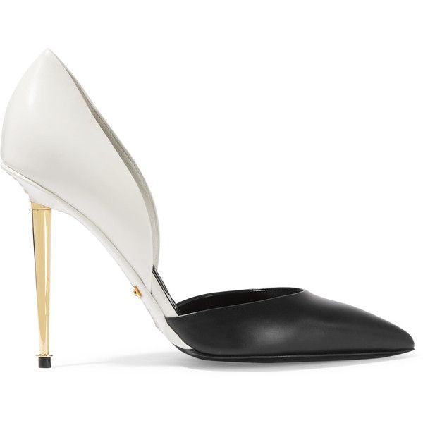 TOM FORD D'Orsay two-tone leather pumps (€560) ❤ liked on Polyvore featuring shoes, pumps, heels, scarpe, tom ford, white, leather pumps, white slip on shoes, white pointy-toe pumps and white high heel shoes