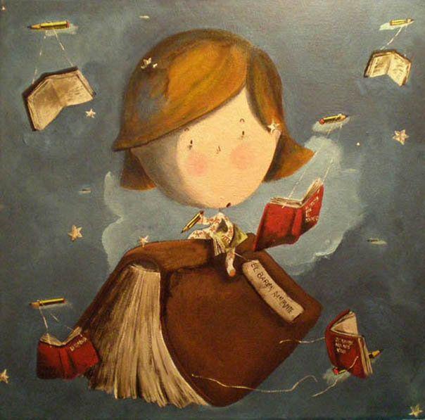 Flying with books / Volando con los libros (ilustración de Marta Mayo)