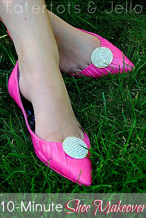 10-minute shoe makeover- spray paint and pair of cheap earrings transform this cheap pair of flats!