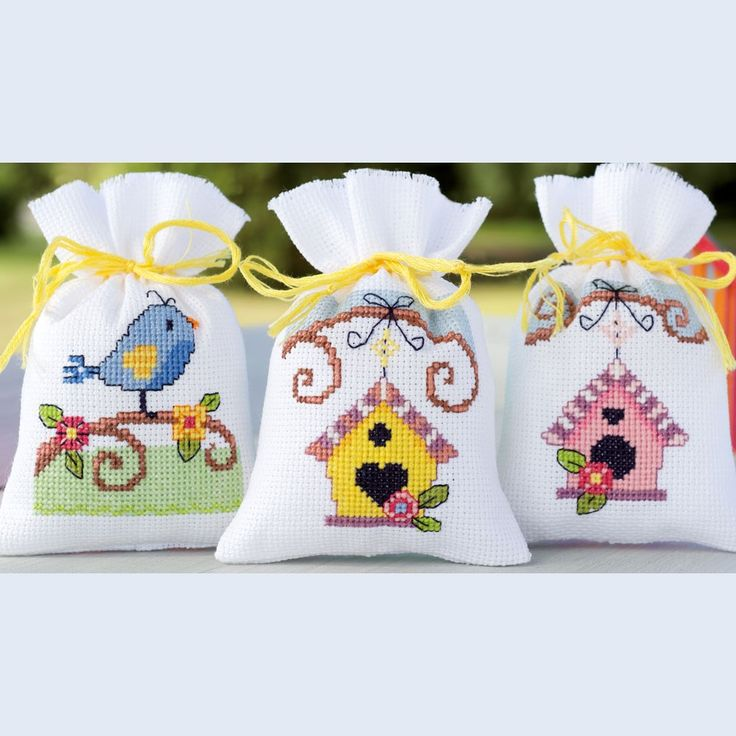 Assortiment kruidenzakjes - Bird Houses - kruissteekpakketten met telpatroon Vervaco