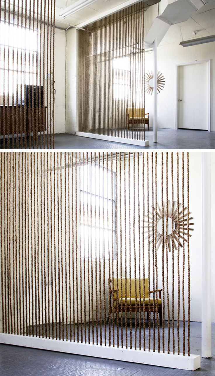29 Creative Diy Room Dividers For Open: 15 Creative Ideas For Room Dividers // This DIY Rope Wall