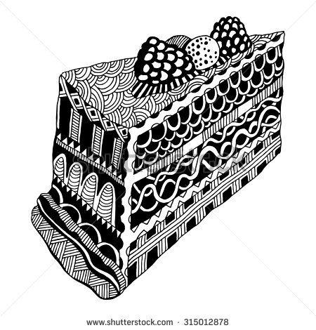 Zentangle Slice Of Cake Stock Vector In 2019 Cake