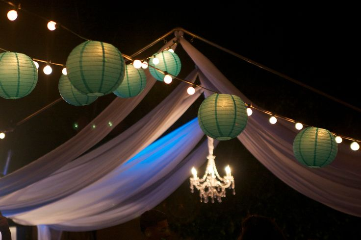Chandelier in canopy with draping and Tiffany Blue string lighting Paris Sweet 16 Birthday ...