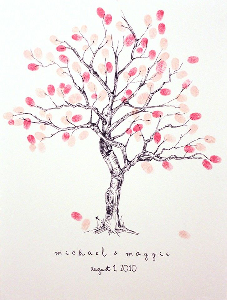 Fingerprint Tree guest book. Have the guests sign their fingerprints. How brilliant!