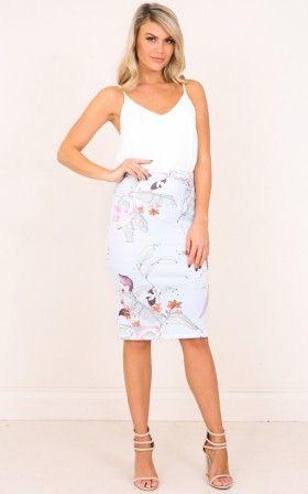 Claim It Back skirt in blue floral