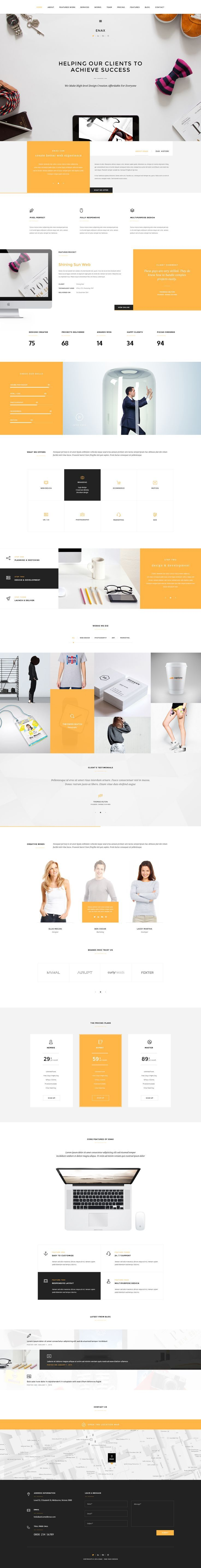 Webdesing | Color | One paga | Enax – One Page MultiPurpose Parallax Published by Maan Ali