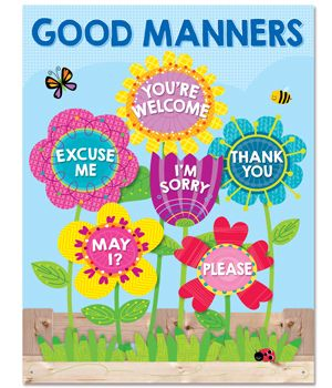 Good manners will bloom all over your classroom with the helpful reminders on this brightly colored Good Manners chart. Chart highlights six good manners for students: Excuse Me, You're Welcome, May I?, I'm Sorry, Thank You, and Please. This chart includes good manners activity ideas and a reproducible on the back. The colorful flowers on this chart will brighten your classroom all year long.
