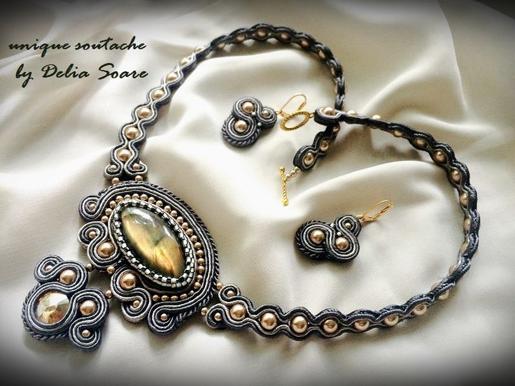 Soutache set with labradorite and Swarovski pearls and crystal. Created by…