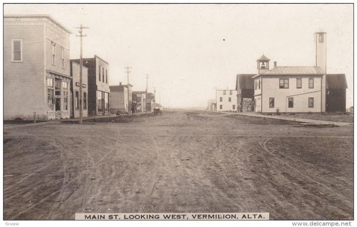RP: Main Street looking West , VERMILION , Alberta , Canada , PU-1918 Item number: 285803017  - Delcampe.com