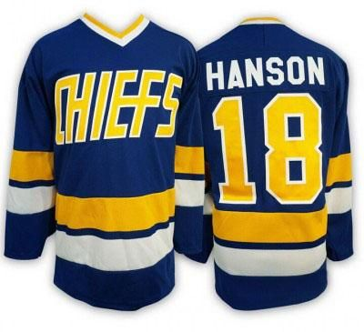 [Visit to Buy] Ice Hockey Jersey Jack Hanson Charlestown Chiefs Jersey #18 Slap Shot Movie Hockey Stitched Blue Winter Sport Wear Wholesale #Advertisement
