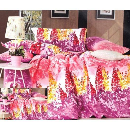 Růžový povlak na postel se vzorem květin - dumdekorace.cz