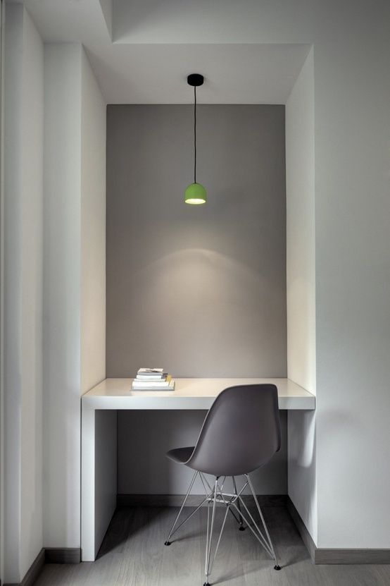 Mauve grey Vitra DSR Eames Plastic Side Chair (http://www.nest.co.uk/search/vitra-dsr-eames-plastic-side-chair) and Flos Wan Suspension Light (http://www.nest.co.uk/product/flos-wan-suspension-light)