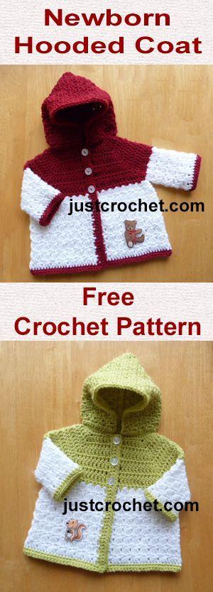 Free newborn baby crochet pattern for hooded coat. #babycrochet: