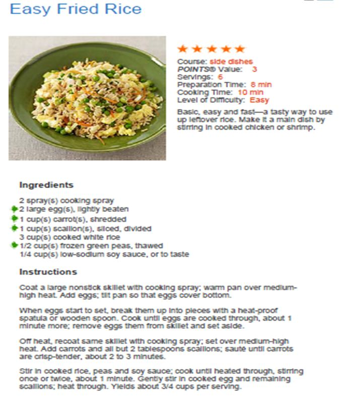 Easy Fried Rice, Weight Watcher's Recipe