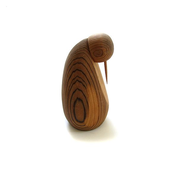 Léo Gervais Wood Bird Penguin Sculpture Mid by lakesidecottage, $82.00