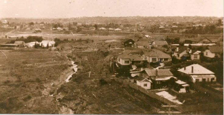 MP 7559. The view from the electricity pylon at Gardiners Creek looking north across High Street. The council nursery is on the left of the photo; 1927.