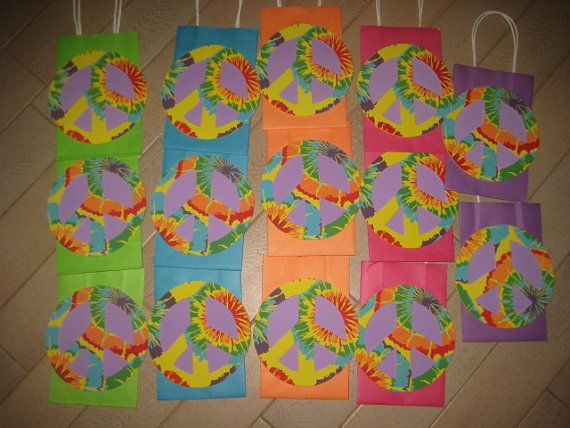 Peace Sign Birthday Party Favor Bags.  Cute DIY project.