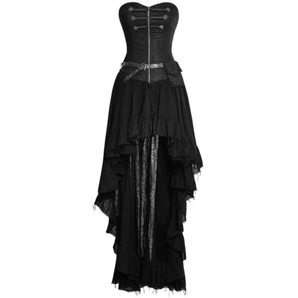 Steampunk Retro Strapless Tube Top Dress Asymmetric Women High Low... ($90) ❤ liked on Polyvore featuring dresses, hi lo dresses, tube top, strapless tube top, hi low lace dress and strapless hi-low dresses